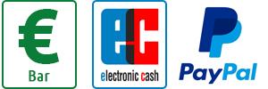 Zahlungsmethoden: Bar oder EC